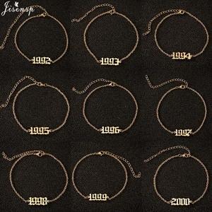 Jisensp браслет из нержавеющей стали с номером уникальный дизайн день рождения год ножной браслет модные украшения для женщин лучший друг пода...