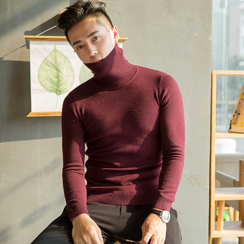 남성용 터틀넥 스웨터 2019 가을 니트 풀오버 한국 니트웨어 슬림 피트 솔리드 컬러 캐주얼 남성 모직 스웨터 S-3XL