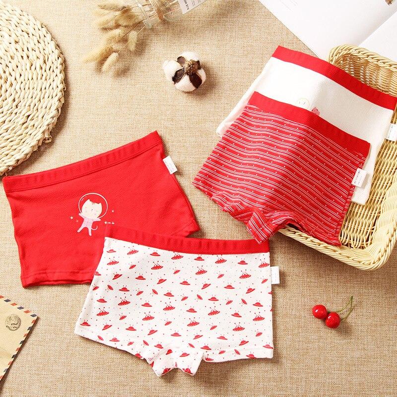 Girls Panties Cartoon Print Teen Panties Pure Cotton Children Underwear Teenage Red Underpants Kids Shorts Boxers Baby Clothes