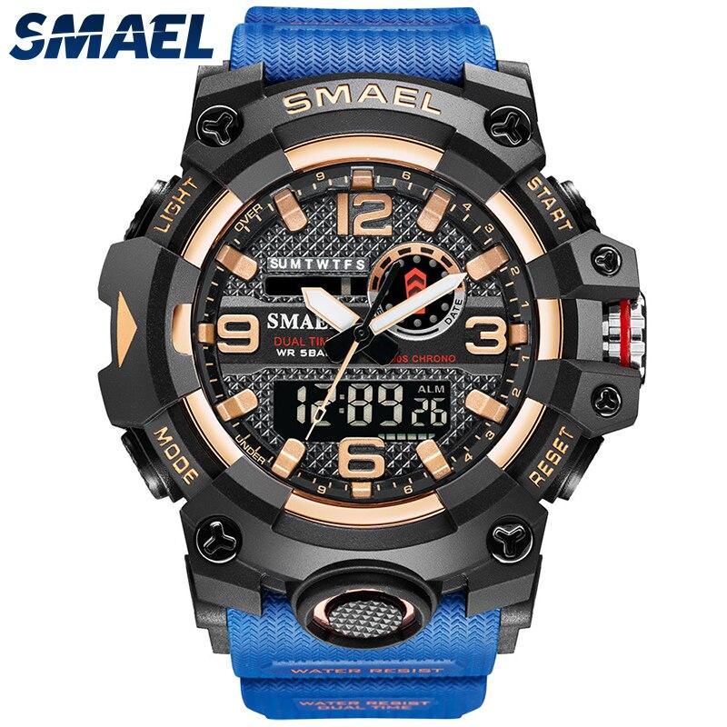 SMAEL Men Sport Watches Dual Time Digital Watch Quartz 50m Waterproof Watch Led Military Watch Sport 8035 Men Watches Wristwatch