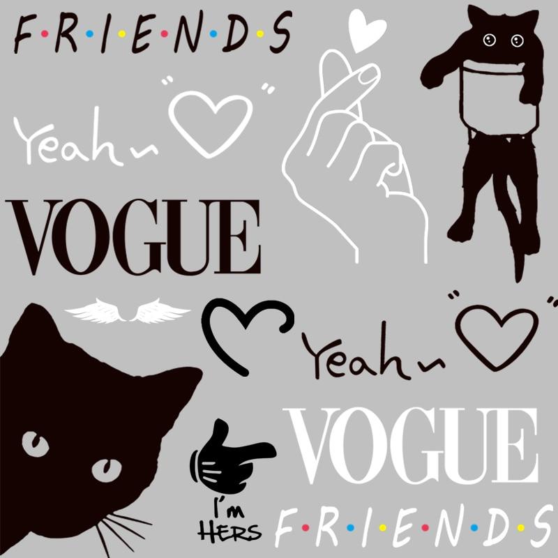 Новые модные нашивки для одежды, утюжок для переноса одежды, сделай сам, пластырь для передачи тепла, черно белая наклейка с надписью «Друзья», милый кот| |   | АлиЭкспресс - Самые продаваемые товары для хобби