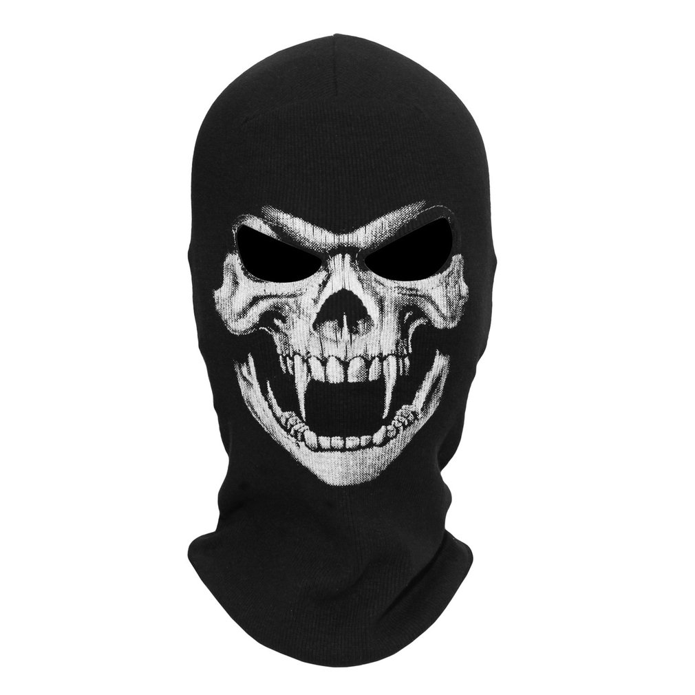 Scary 3D Skull Printed Halloween Mask Adult Full Face Black Mask Men Women Ghost Cosplay Party Costumes & Accessories