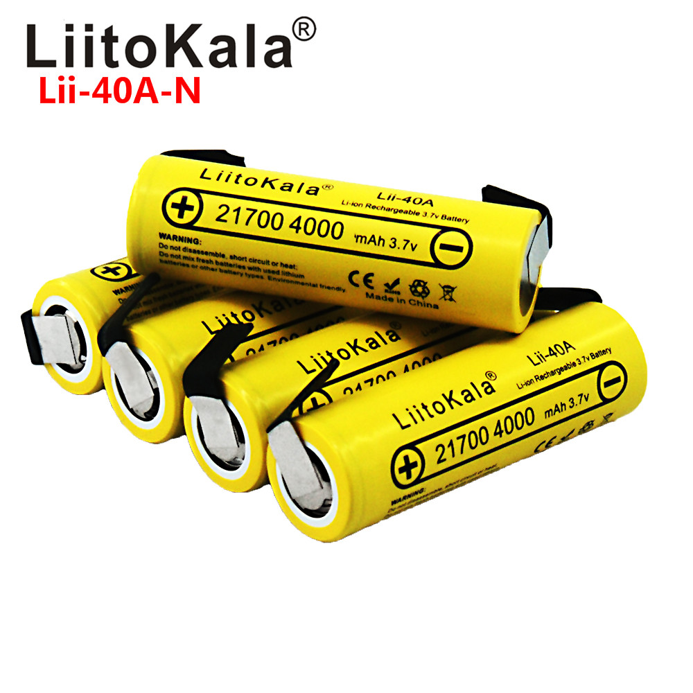 LiitoKala Lii-40A 21700 4000mAh  Li-Ni Battery 3.7V 40A For High Discharge Mod / Kit 3.7V 15A Power +DIY Nicke