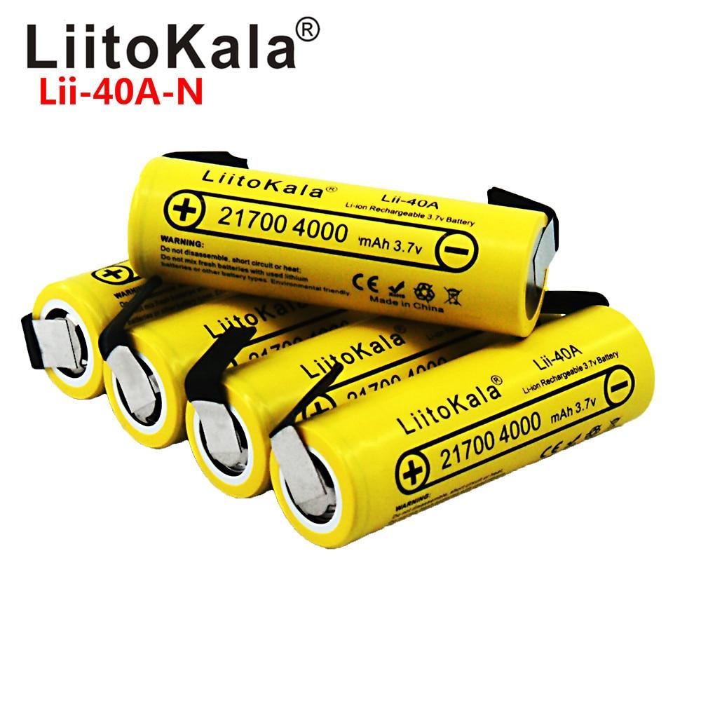 LiitoKala Lii-40A 21700 4000mAh  Li-Ni Battery 3.7V 40A For High Discharge Mod / Kit 3.7V 15A Power +DIY Nicke