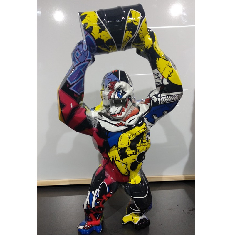 40cm Big Monkey King Kong Statue Graffiti Gorilla Sculpture Geometric FRP Modern Birthday Gift For Wedding Home Decoration A564