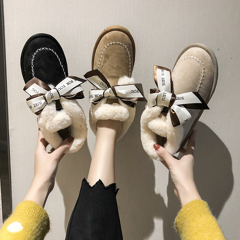 2019 Women Snow Boots Winter Ankle Boot Female Bow Warmer Plush Suede Rubber Flat Slip On Fashion Platform Ladies Shoes 25