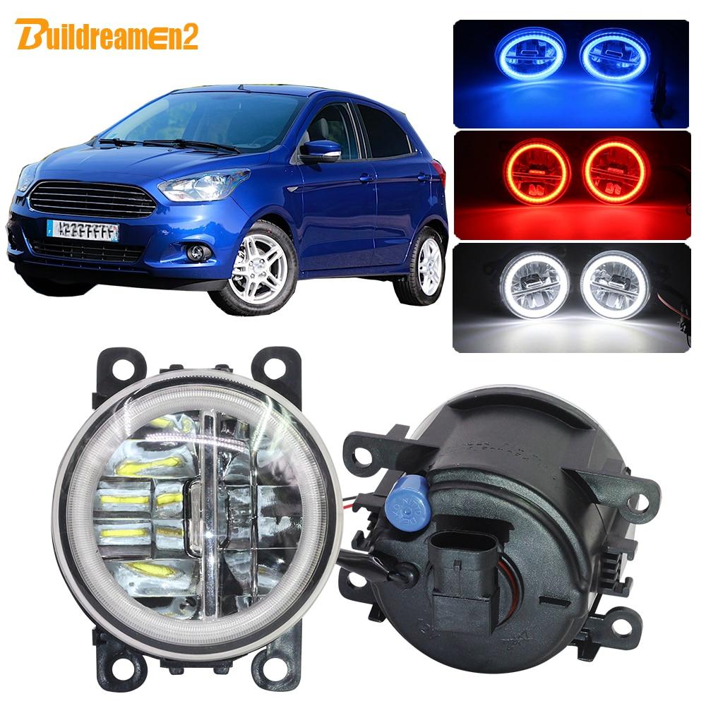 Buildreamen2 Car 4000LM Fog Light Kit H11 LED Angel Eye DRL Daytime Running Light 12V For Ford Figo Ka+ Ka 2015 2016