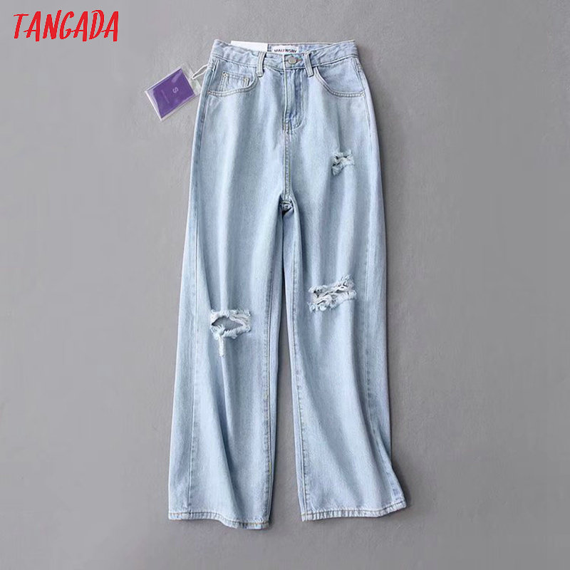 Tangada Fashion Women High Waist Rippped Jeans Long Trousers Pockets Zipper High Street Female Blue Denim Pants 7B01
