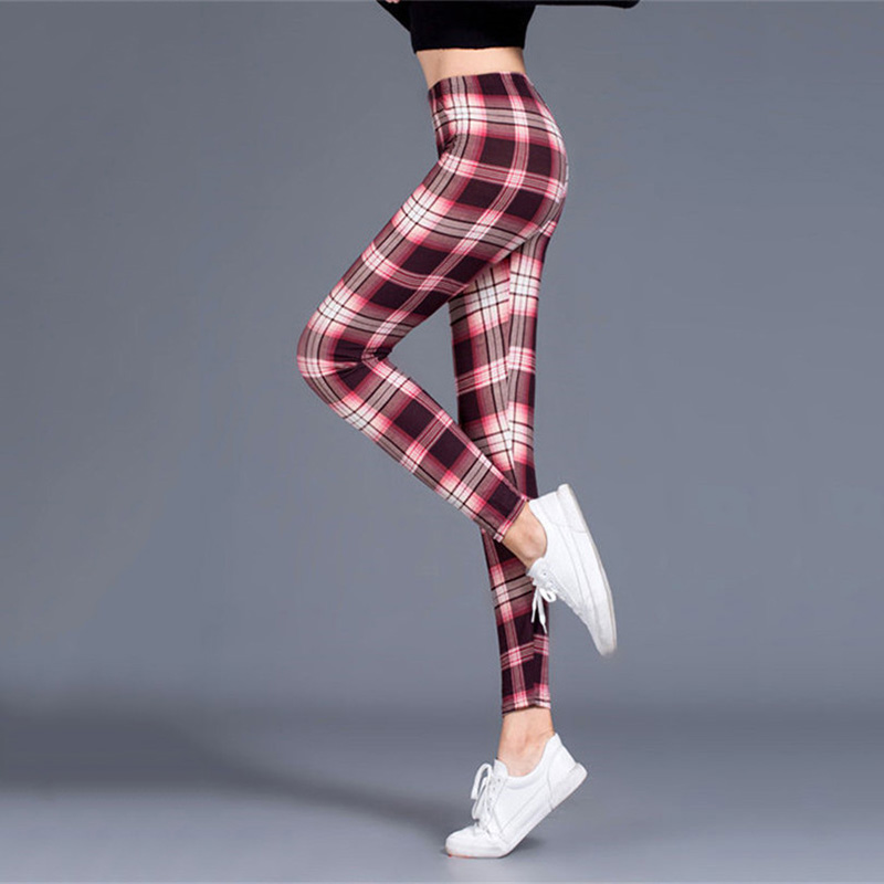 H1b0e54bc81be451085dd2fd459d6934eh Plaid Leggings Women Sexy Pants Push Up Leggings Fashion Fitness Leggings Gym Sporting Plus Size High Waist Trousers