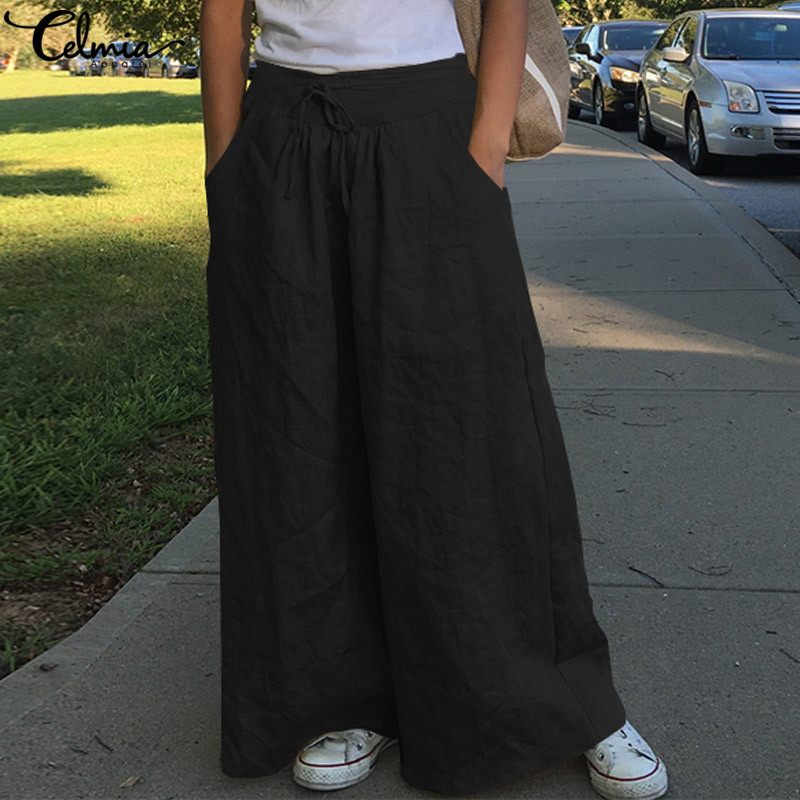 2020 Celmia Women Casual Loose Wide Leg Pant Ladies Fashion Trousers Female Palazzo High Waist Pants Vintage Pantalon Plus Size
