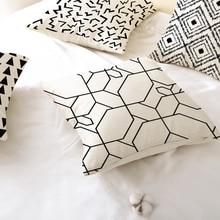 Monochrome Cushion Cover Throw Pillow Cover Print Black and White Decorative Pillowcases 40 Polyester Peachskin Plain