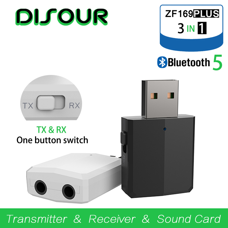 DISOUR  Bluetooth 5.0 Audio Receiver Transmitter USB Bluetooth Sound Card AUX RCA  3.5mm Jack For TV PC Car Kit Wireless Adapter