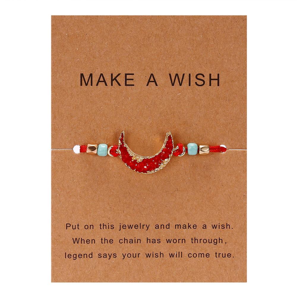 Для женщин браслеты на удачу бисера красная строка натуральный камень ткань браслеты мужчин ручной работы интимные аксессуары с карты - Окраска металла: red moon