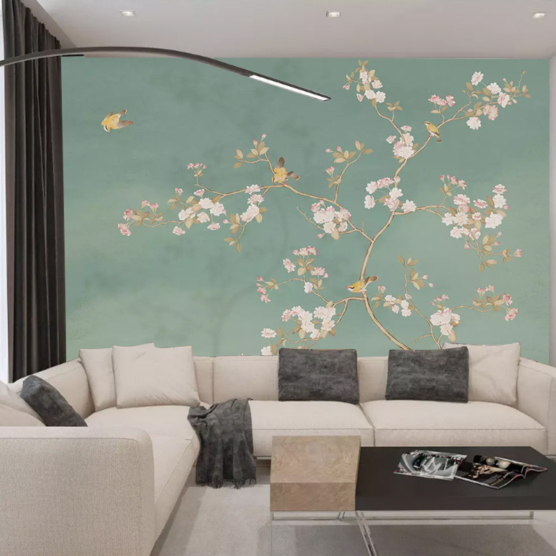 New Chinese Style Hand-Painted Ginkgo Leaf Flowers And Birds Mural Living Room Bedroom Sofa TV Background Wallpaper Whole Piece