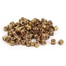 100pcs M2 Brass Cylinder Knurled Threaded Insert 3mm Round Embedded Nuts with Corrosion Resistance 1pc brass metal thin sheet plate 3mm thickness welding metalworking craft diy tool 60x100mm with corrosion resistance