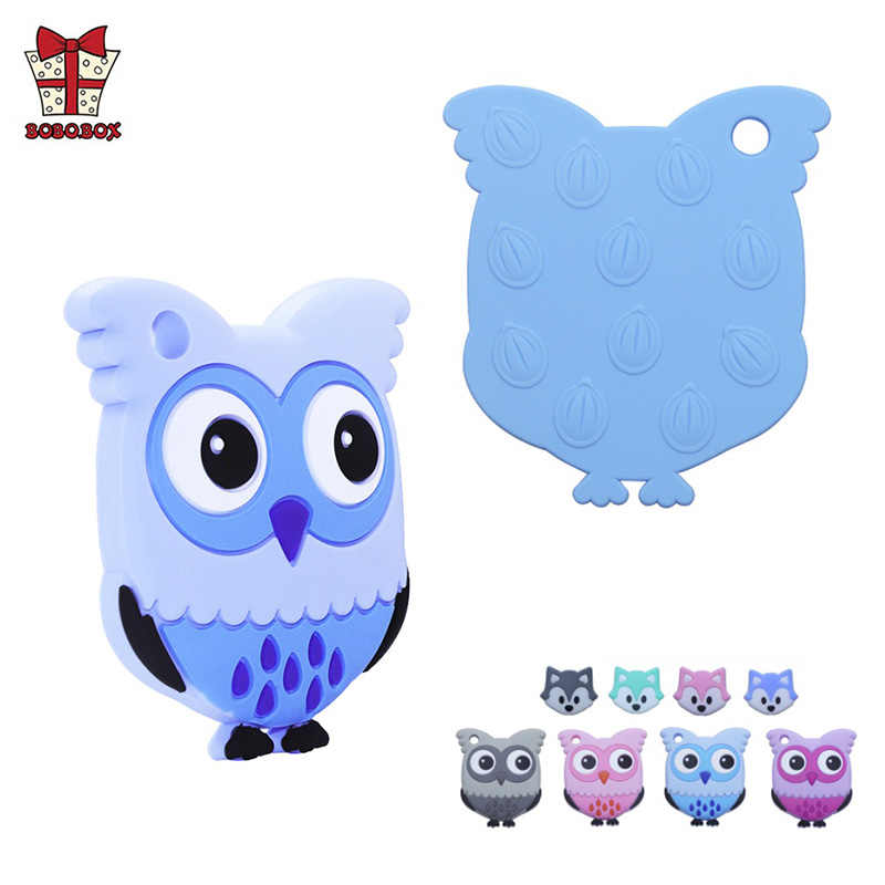 BOBO.BOX 1PC Silicone Teethers Food Grade Baby Tiny Rod DIY Teething Necklace Beads Owl Fox Penguin Flamingo Cartoon Animals Toy