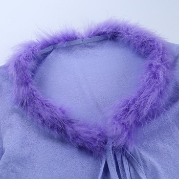 Purple Feathers Front Lace Up 6