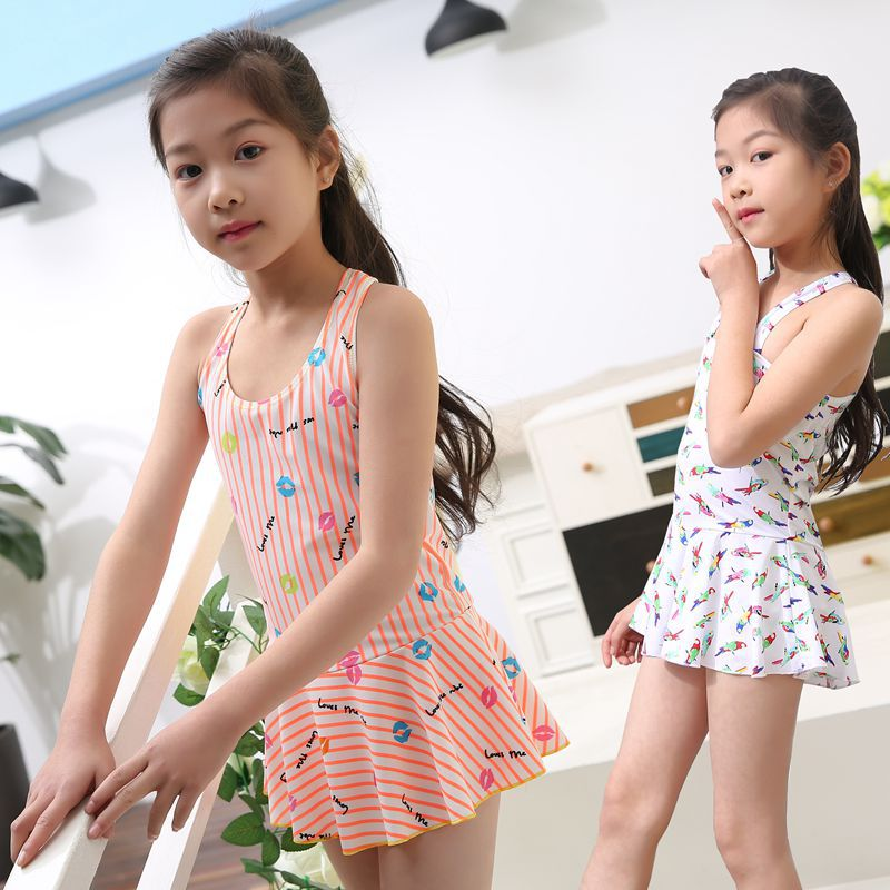 Xiao Shu New Style Chinlon Skirt GIRL'S Big Boy South Korea One-piece Boxer Girls Students Swimsuit Manufacturers