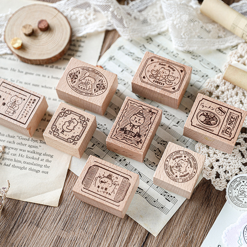8pcs Wooden Rubber Stamps Flower Patterns Stamps for DIY Diary Cards Stamps Craft Card Scrapbooking Supplies