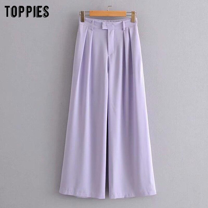 Фиолетовый костюм брюки для женщин высокая талия широкие брюки летние брюки женская одежда pantalones de mujer|Брюки |   | АлиЭкспресс
