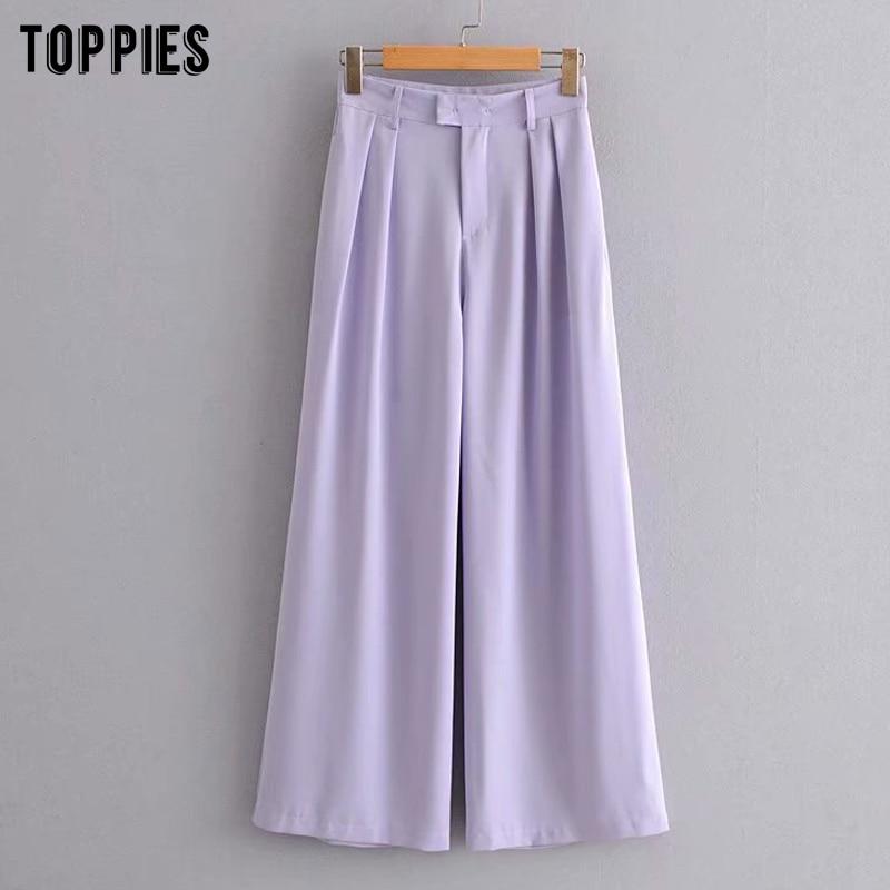 Purple Suit Pants Women High Waist Wide Leg Pants Summer Trousers Women Clothes Pantalones De Mujer