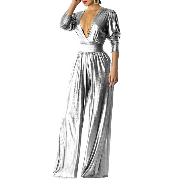 Adogirl Elegant Glitter Wide Leg Pants Jumpsuit Women Sexy Deep V Neck Long Sleeve Ruched with Pockets Party Romper Club Outfits 5