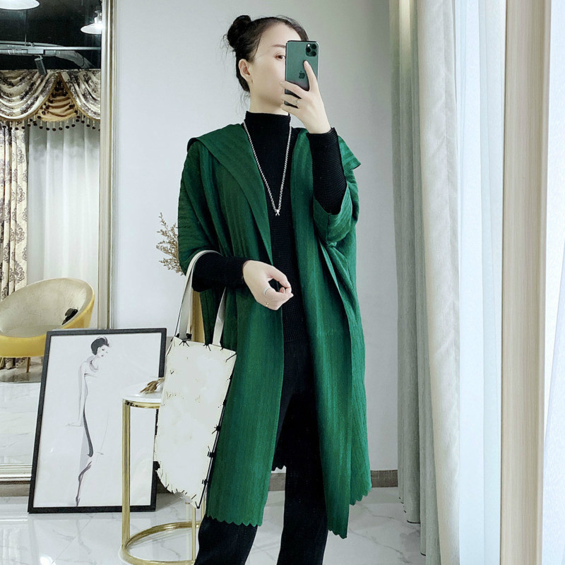 LANMREM Solid Color Lapel Mid-length Trench Coat Women 2020 New Spring Vintage Loose Slim Was Thin Pleated Windbreaker PD145