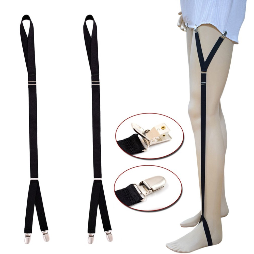 1 Pair Men Shirt Stays Garter Straight Suspender Elastic Adjustable Metal Clips Suspenders Holder Male Business Shirt Holders