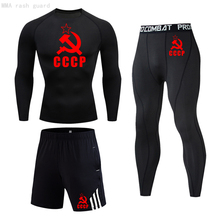 Leggings T-Shirt Tracksuit Basketball Running-Tights Compression Fitness Gym 3-Pc/men's