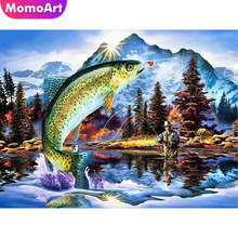 MomoArt Diamond Painting Animal Mosaic Landscape Embroidery Full Drill Square Rhineston Home Decoration