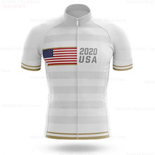USA 2020 Men Pro Team Cycling Jersey Short Sleeve Mtb Bicycle Simple White Bike Cycling Clothing Maillot Ciclismo Hombre Maillot(China)