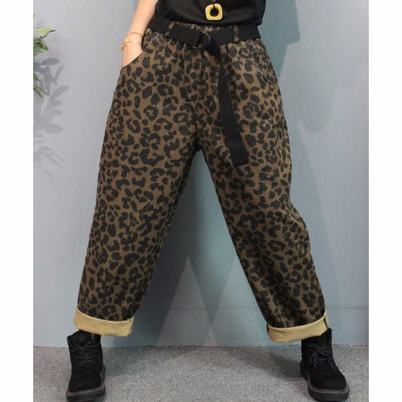 Max LuLu Kore Moda Stil Sonbahar Bayanlar Punk denim pantolon Elastik Bayan Leopar Baskılı harem pantolon Büyük Boy Streetwear