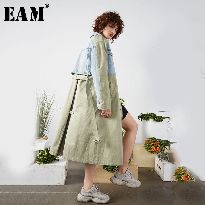 [EAM] Women Blue Contrast Color Stitch Denim Trench New Lapel Long Sleeve Loose Fit Windbreaker Fashion Tide Spring 2020 1S094