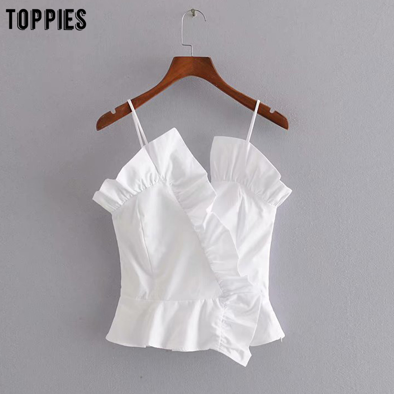 Toppies Summer White Lace Tops Womens Sexy Sleeveless Ruffles Blouses Woman Tops 2020 Fashion Clothings