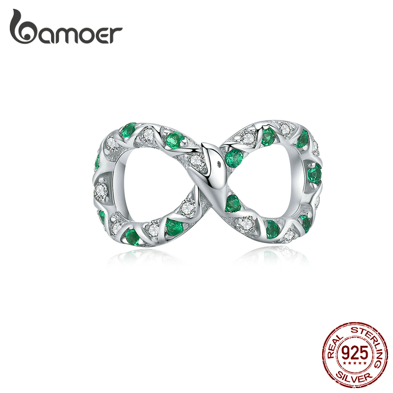 Bamoer Infinity Shape Snake Charm Fit Original Silver Bracelet 925 Sterling Silver Retro Ouroboros Design Jewelry BSC186