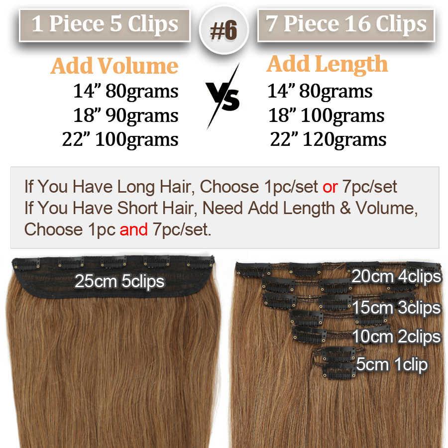MRSHAIR Clip en extensiones de cabello humano 1/7/8 Uds Set de cabeza completa Remy pelo Natural negro marrón Rubio 100% pelo humano 14 18 22 pulgadas