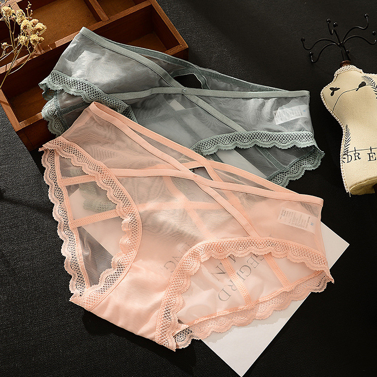 Sexy Comfortable Women Underpants Ventilation Briefs Hollow Out Cotton Bottom Low-waisted Lace Underpants