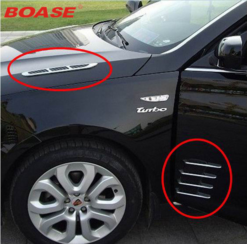 New Car Shark Gills Outlet Stickers Simulation Vent False Air Outlet Side Hood Bonnet Decorative Car Styling Modification
