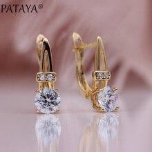 PATAYA новые женские круглые висячие серьги 585 розовое золото натуральный циркон серьги микро-воск инкрустация Свадебные Уникальные Милые модные украшения