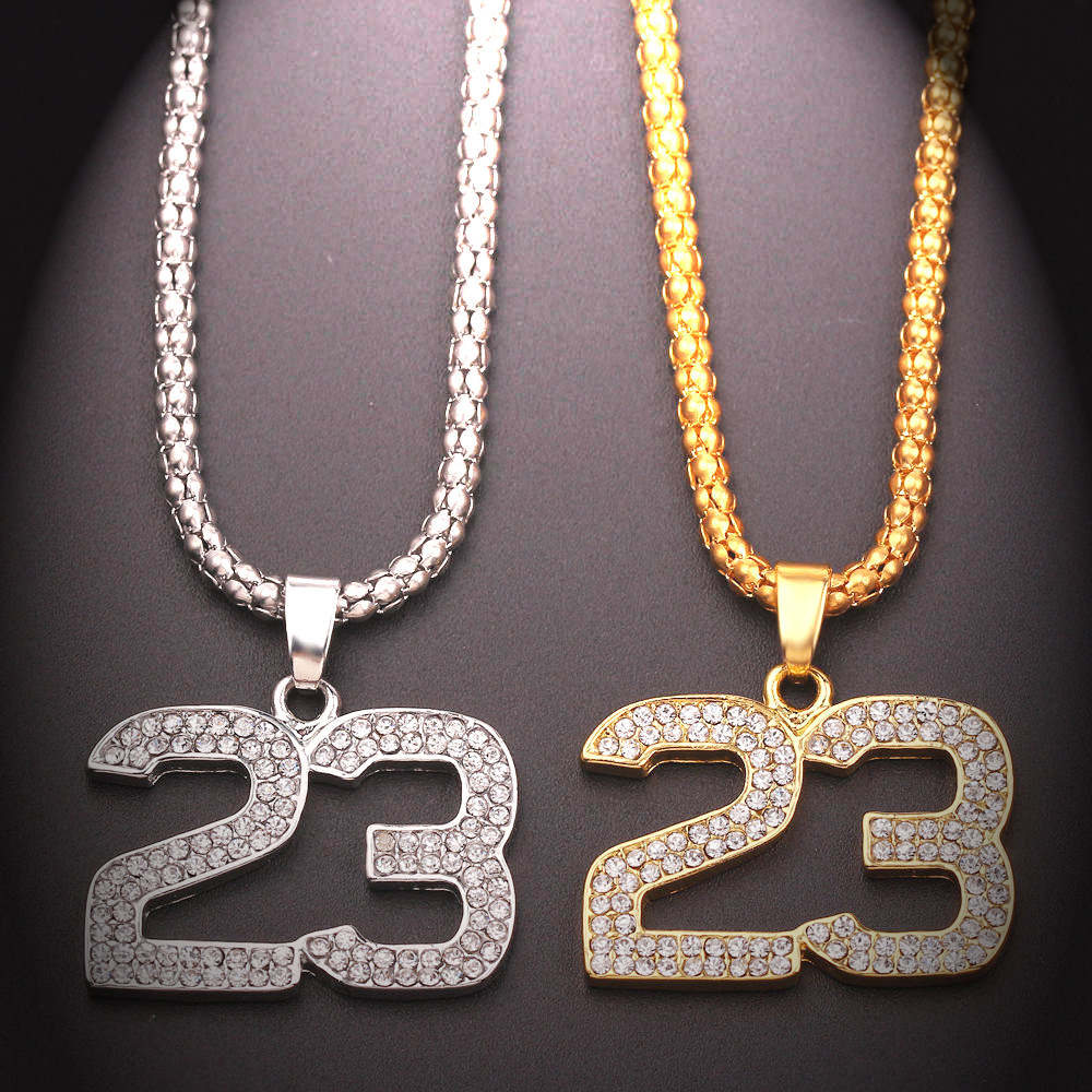 Hip Hop Crystal Basketball Legend Number 23 Necklaces Bling Gold Cuban Chain...