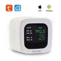 Eachen inteligente wifi pm2.5 e sensor de temperatura e umidade detector ambiental (tuya smart life app)