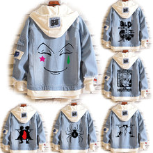 Anime hisoka cosplay traje hunter×hunter jaqueta jeans gon freecss coaplay casacos killua zoldyck camisola com capuz kurapika