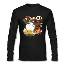 My Neighbor's Breakfast totoro Tee Shirt For Men Long Sleeve Round Neck Cotton Top Designing Men Shirt Asian Size(China)