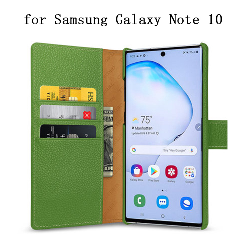 For Samsung Galaxy Note 10 Case Genuine Cow Leather Wallet Case for Samsung Galaxy Note 10Plus 10+ Flip Magnetic Phone Bag Shell