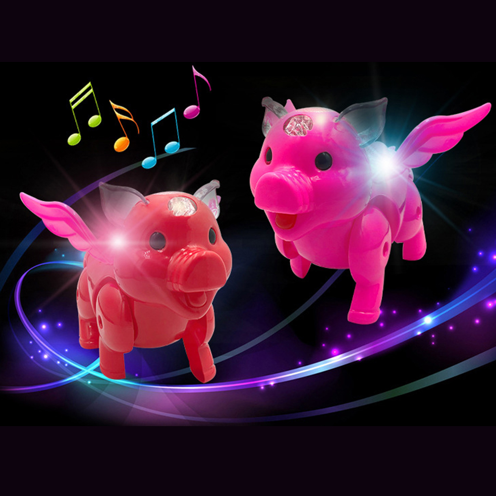 Electric LED Musical Wing Pig Walking Animal With Leash Kids Interactive Toy