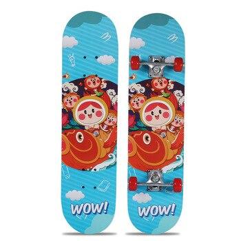 78cm Children Adult Four-Wheel Skateboard Double Snubby Maple Skateboard Shock Absorption Scooter Skate Board Printed Longboard