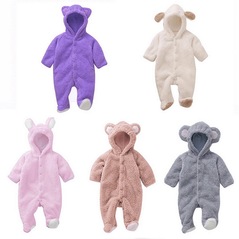 Winter Child Pantyhose children's coral fleece Hoodies overalls newborn <font><b>baby</b></font> newborn toddle clothes image