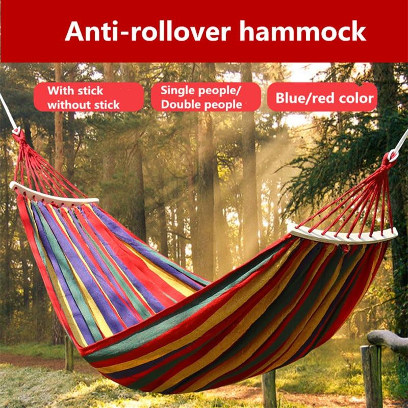 Portable Hammock Outdoor Hammock Garden Sports Home Travel Camping Swing Canvas Stripe Hang Bed Hammock Double Single People