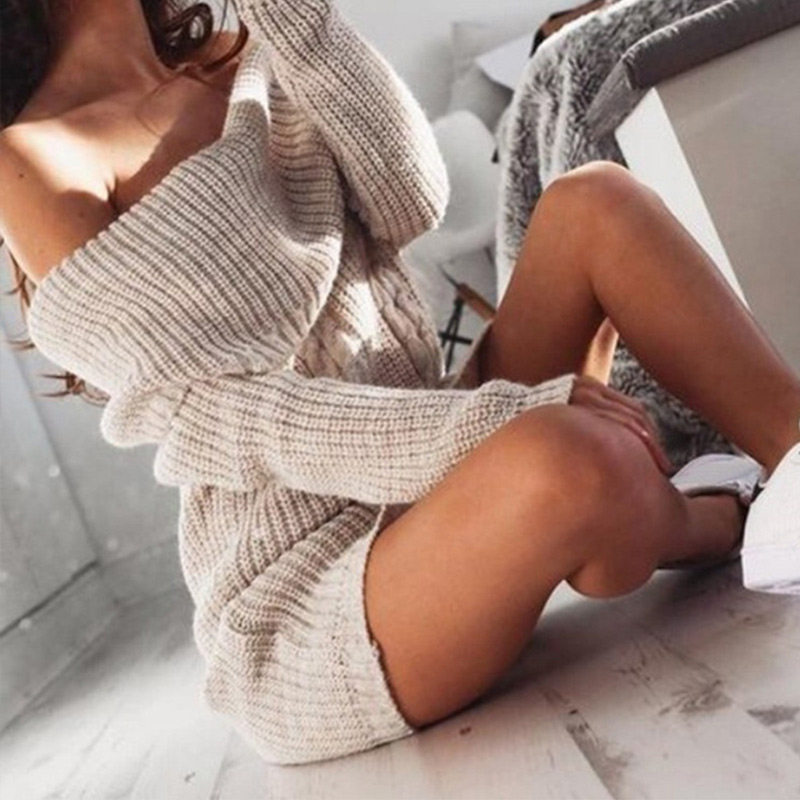 Off Shoulder Knitted Dress Women Plus Size 3XL Long Sleeve Sweater Mini Dresses Female 2020 Spring Autumn Casual Ladies Pullover
