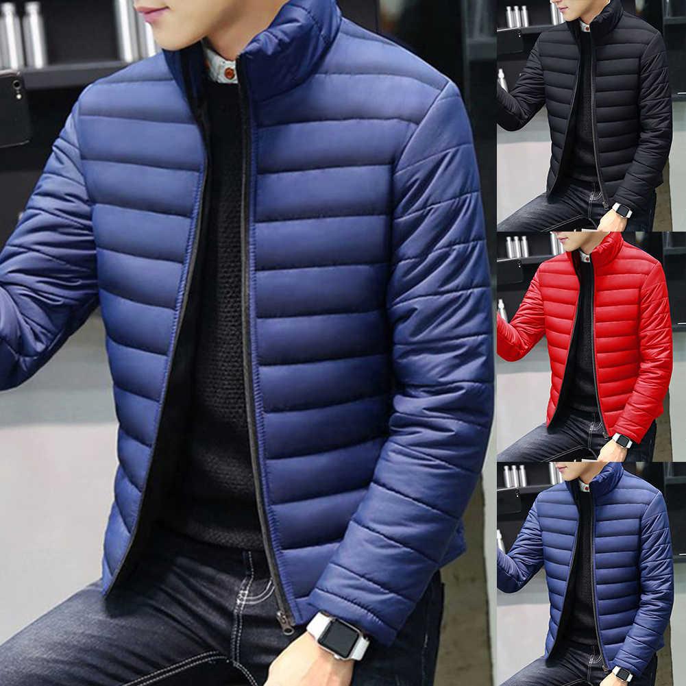 Yeni erkek kış sıcak dış giyim büyük boy erkek uzun kollu standı yaka pamuk iş rahat fermuar sıcak pamuklu ceket